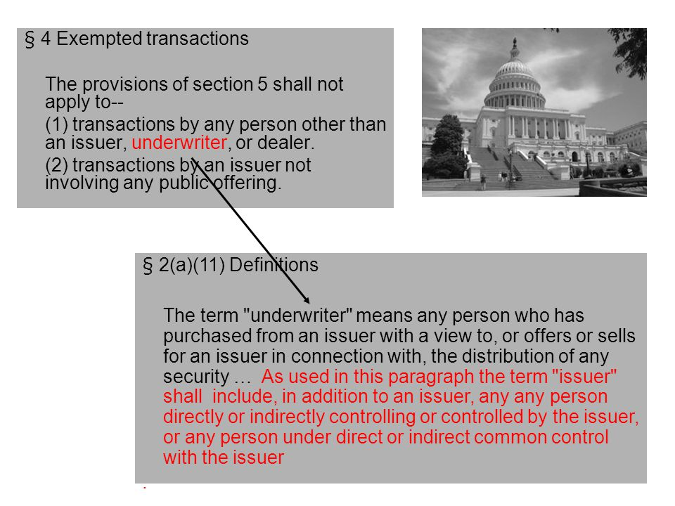 § 4 Exempted transactions The provisions of section 5 shall not apply to-- (1) transactions by any person other than an issuer, underwriter, or dealer.