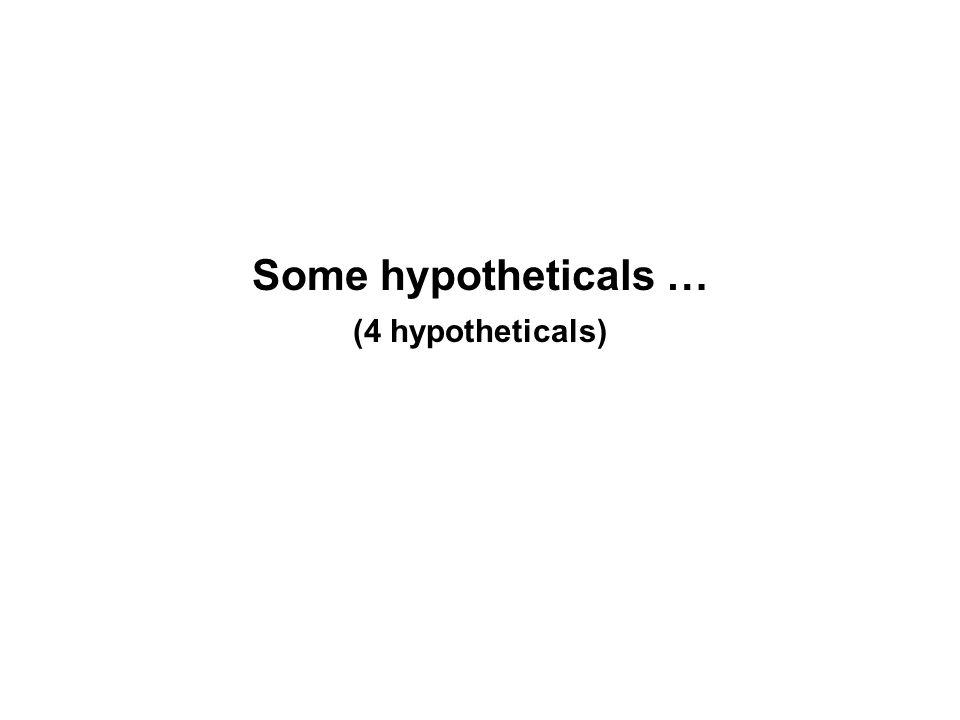 Some hypotheticals … (4 hypotheticals)