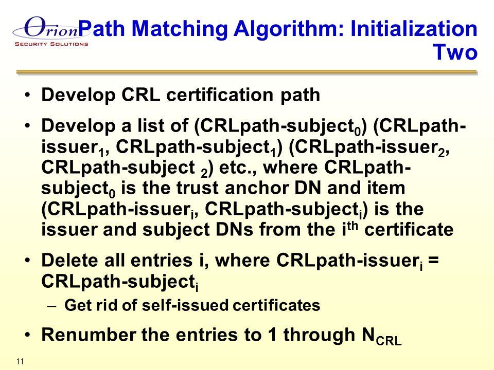 11 Path Matching Algorithm: Initialization Two Develop CRL certification path Develop a list of (CRLpath-subject 0 ) (CRLpath- issuer 1, CRLpath-subje