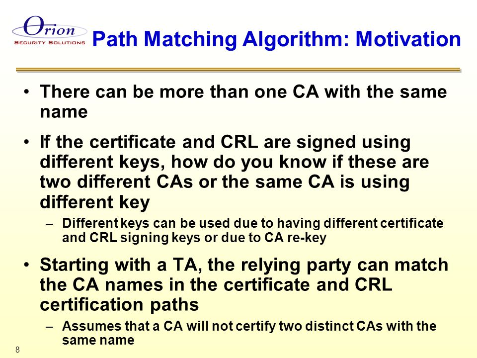 29 Matching IDP in CRL and CRL Distribution Point in Certificate Certificate CRL with IDP DP in IDP = DP in CRL DP CRL with IDP Absent CRL with IDP DP = NULL Partitioned CRL Partitioned CRL by Reason Code and or Certificate Type