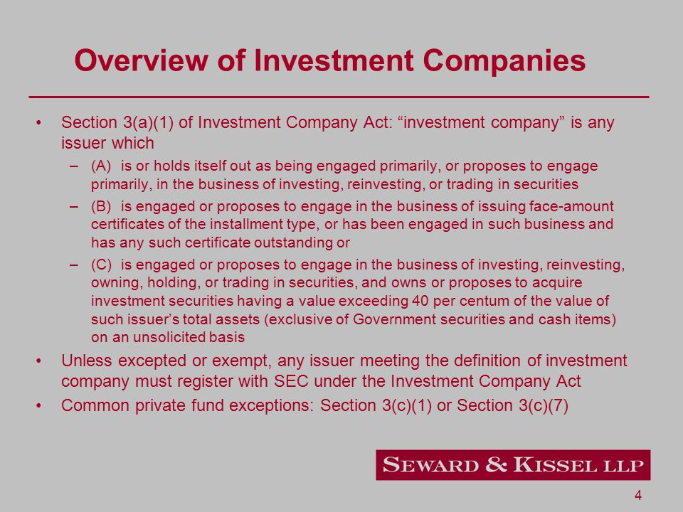 5 Types of SEC-Registered Funds Open-End Registered Investment Company Mutual Fund - continuously offers shares and redeems shares daily Fund registered under the Investment Company Act of 1940 ( '40 Act ) and shares registered under Securities Act of 1933 ( '33 Act ) As of 12/31/2011 - $11.6 Trillion (in total net assets)