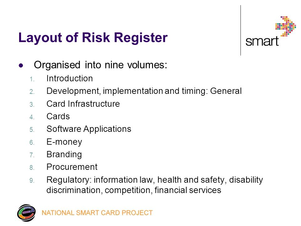 How to use the Risk Register Four columns: 1. Types of risk 2.