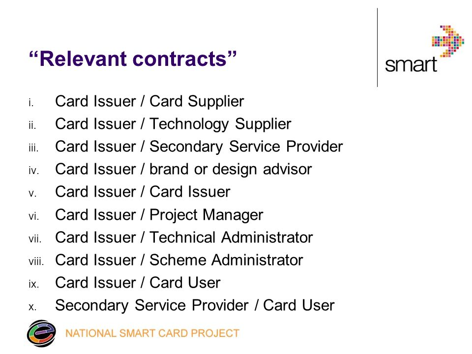 Relevant contracts i. Card Issuer / Card Supplier ii.