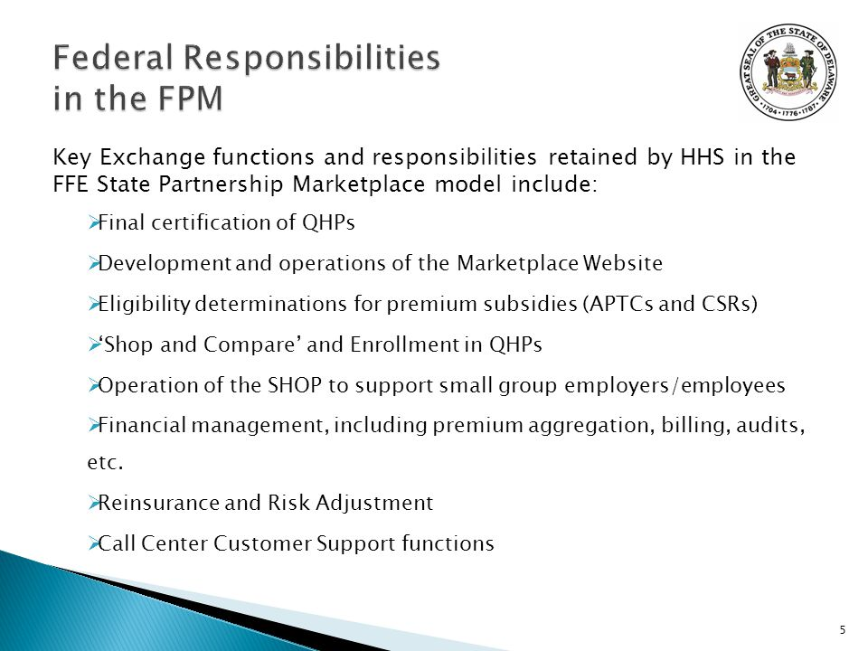 Key Exchange functions and responsibilities retained by HHS in the FFE State Partnership Marketplace model include:  Final certification of QHPs  Development and operations of the Marketplace Website  Eligibility determinations for premium subsidies (APTCs and CSRs)  'Shop and Compare' and Enrollment in QHPs  Operation of the SHOP to support small group employers/employees  Financial management, including premium aggregation, billing, audits, etc.