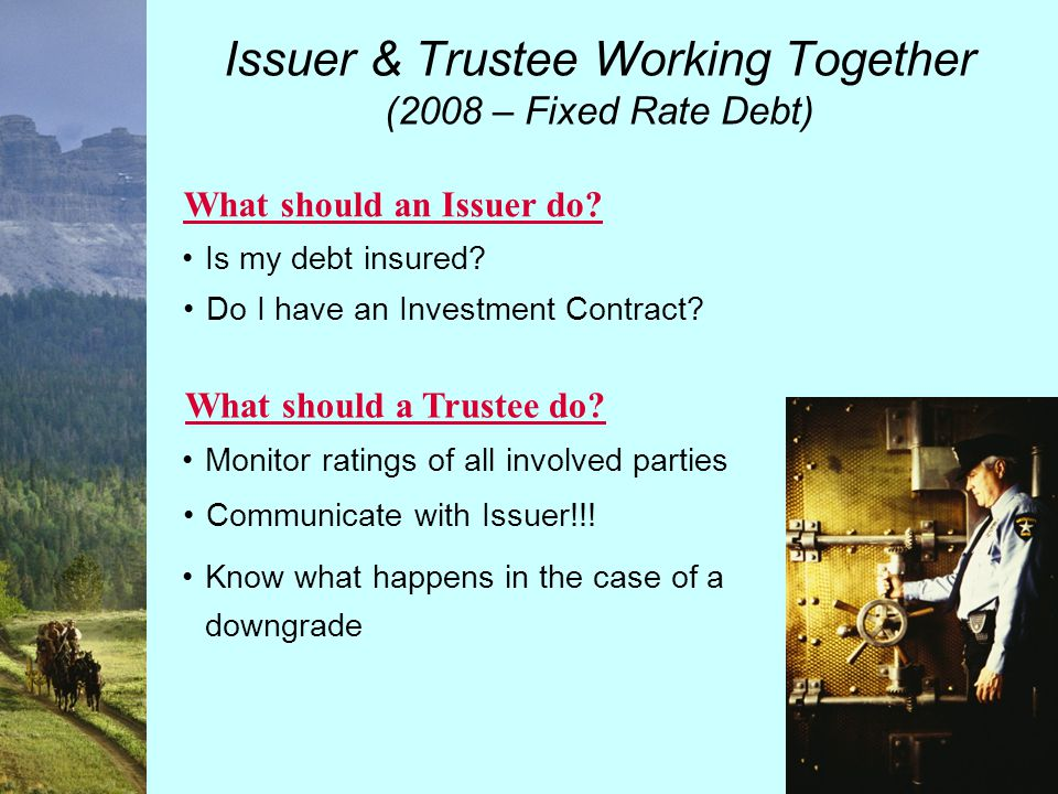 Issuer & Trustee Working Together (2008 – Variable Rate Debt) Understand failed Remarketings Review Standby Bond Purchase Agreement What should an Issuer do.