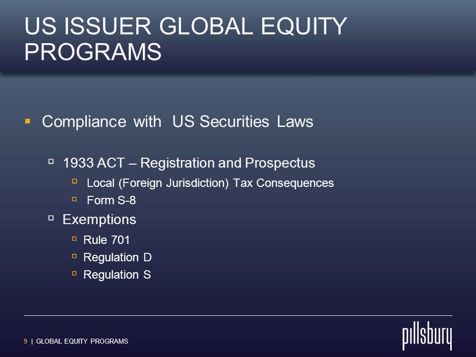 9 | GLOBAL EQUITY PROGRAMS US ISSUER GLOBAL EQUITY PROGRAMS  Compliance with US Securities Laws  1933 ACT – Registration and Prospectus  Local (For