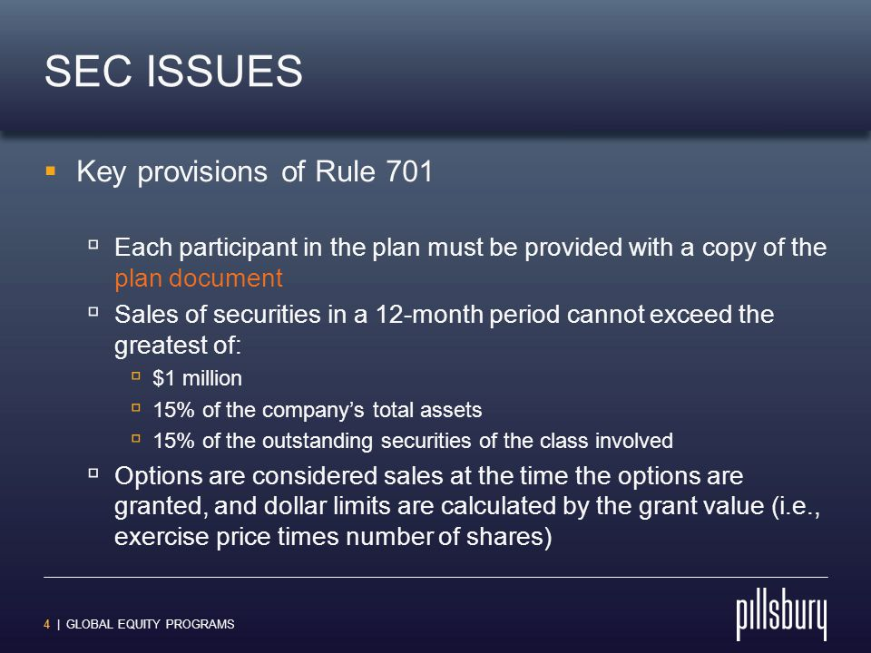 15 | GLOBAL EQUITY PROGRAMS TAX ISSUES  U.S.