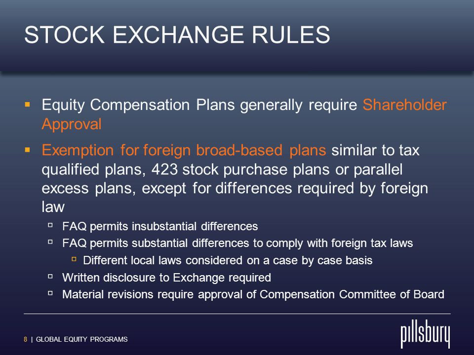 8 | GLOBAL EQUITY PROGRAMS STOCK EXCHANGE RULES  Equity Compensation Plans generally require Shareholder Approval  Exemption for foreign broad-based