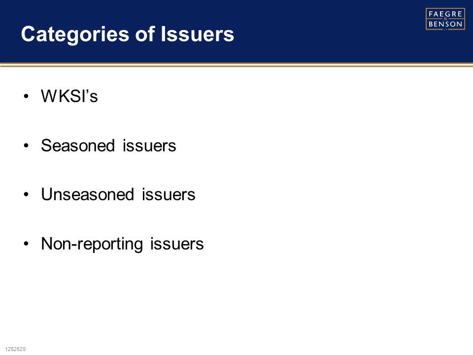 1252529 Categories of Issuers WKSI's Seasoned issuers Unseasoned issuers Non-reporting issuers