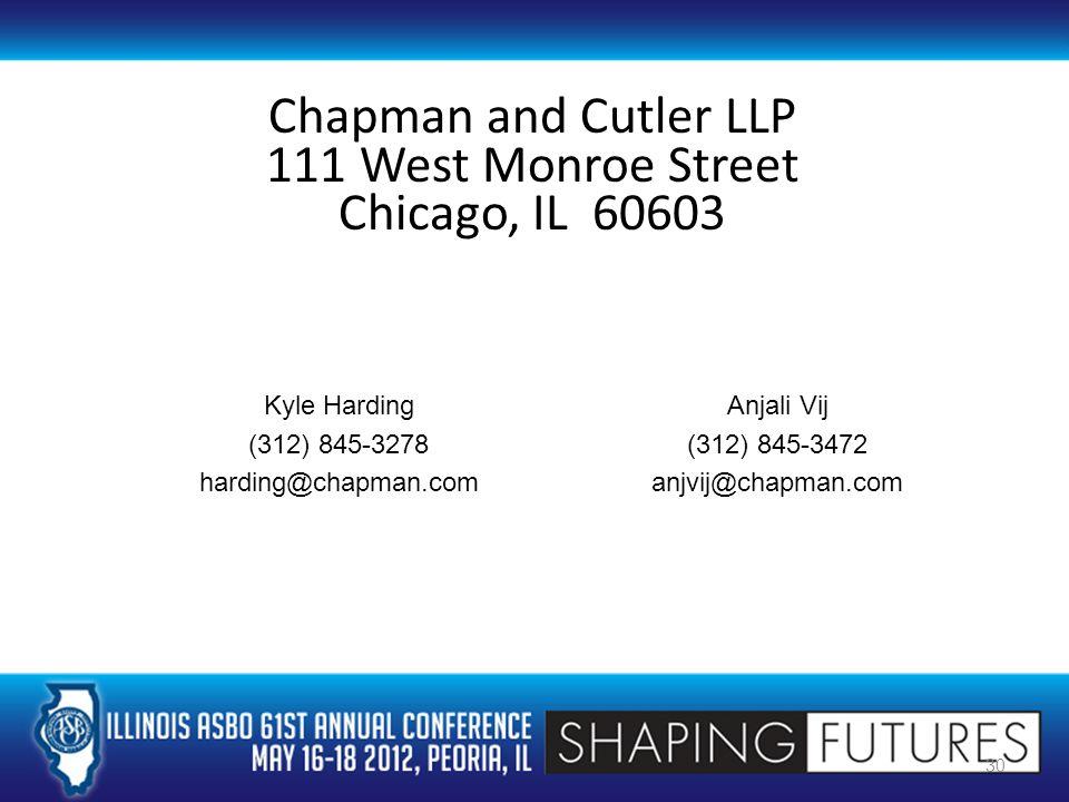 Chapman and Cutler LLP 111 West Monroe Street Chicago, IL 60603 30 Anjali Vij (312) 845-3472 anjvij@chapman.com Kyle Harding (312) 845-3278 harding@chapman.com