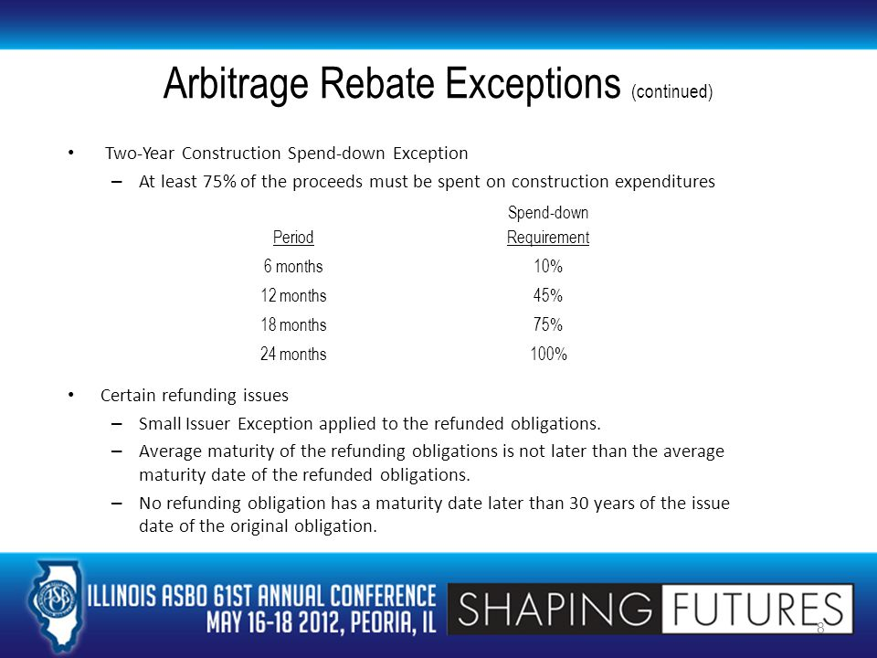 Arbitrage Rebate Exceptions (continued) Two-Year Construction Spend-down Exception – At least 75% of the proceeds must be spent on construction expenditures Certain refunding issues – Small Issuer Exception applied to the refunded obligations.