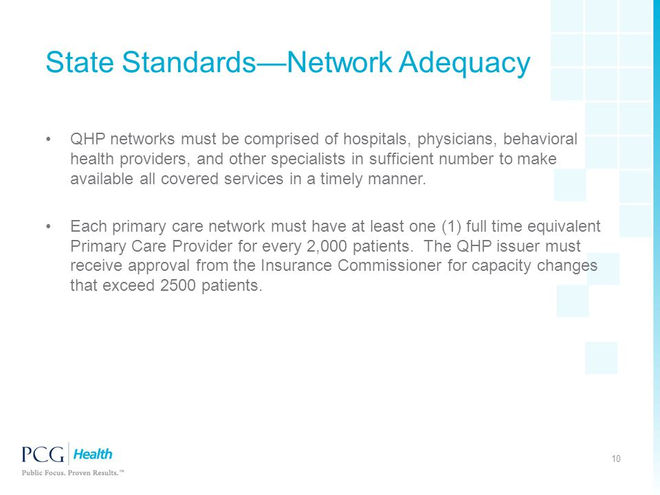 State Standards—Network Adequacy QHP networks must be comprised of hospitals, physicians, behavioral health providers, and other specialists in suffic