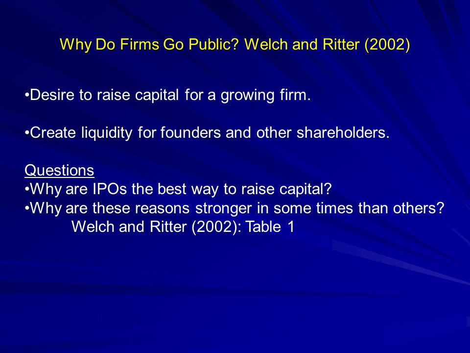Why Do Firms Go Public.Why Do Firms Go Public.