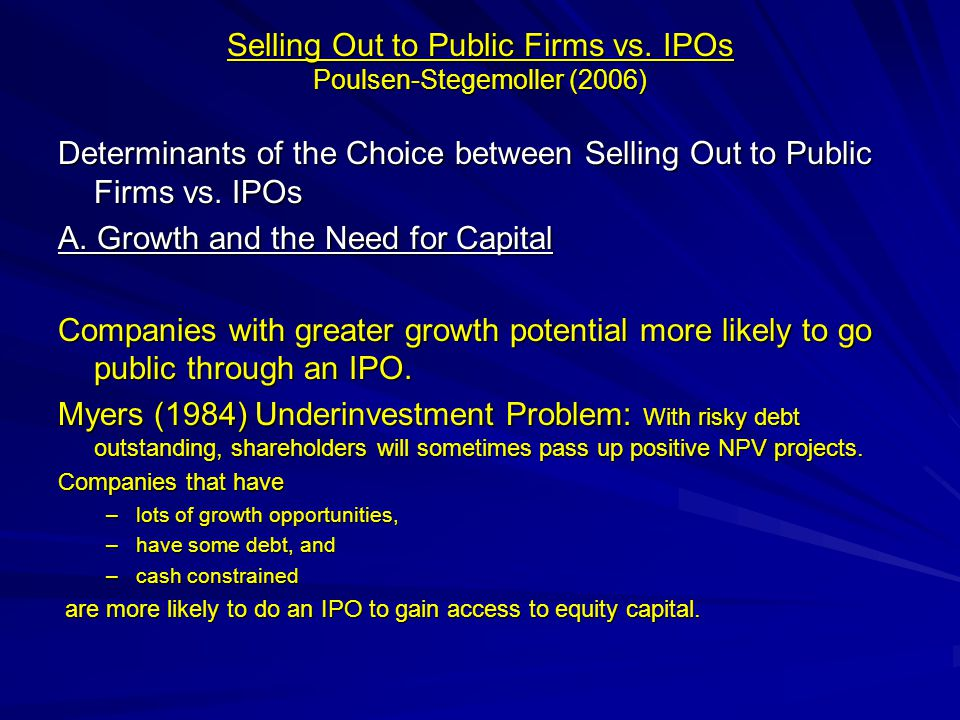 Selling Out to Public Firms vs.