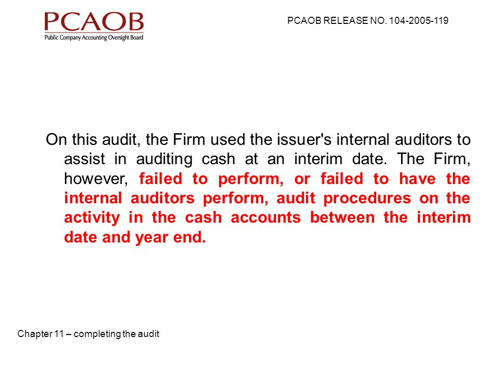 PCAOB RELEASE NO.