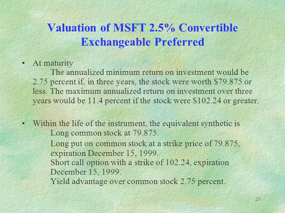 29 Valuation of MSFT 2.5% Convertible Exchangeable Preferred At maturity The annualized minimum return on investment would be 2.75 percent if, in three years, the stock were worth $79.875 or less.