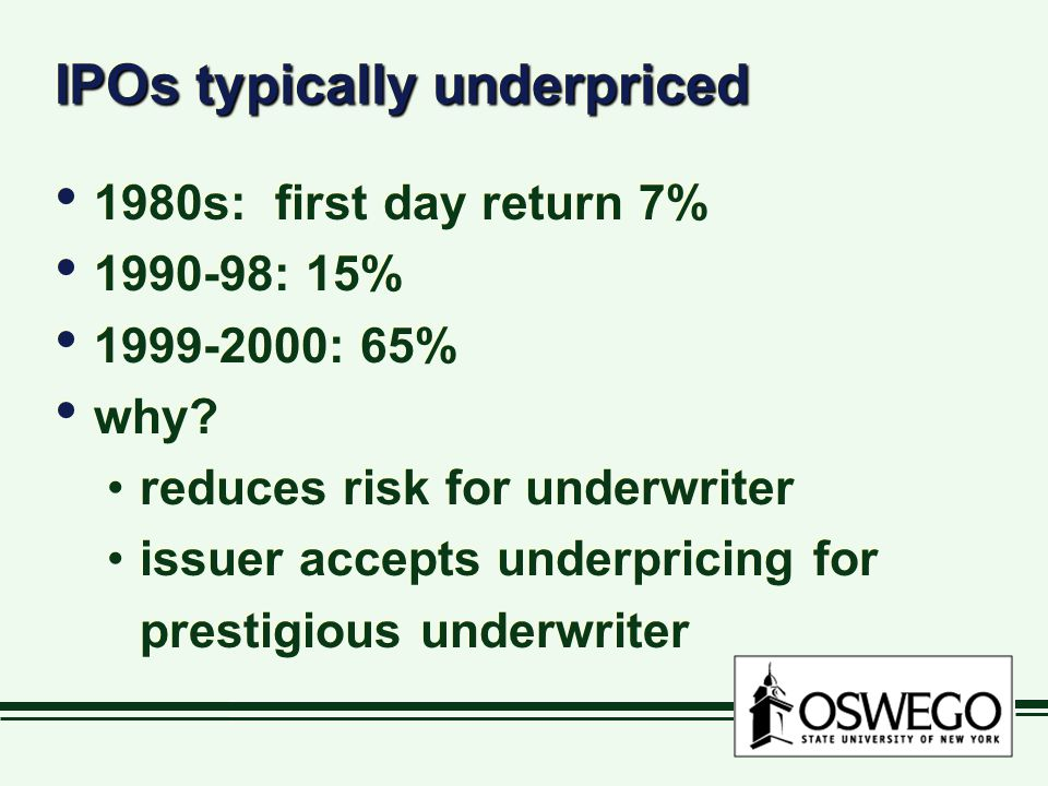 IPOs typically underpriced 1980s: first day return 7% 1990-98: 15% 1999-2000: 65% why? reduces risk for underwriter issuer accepts underpricing for pr