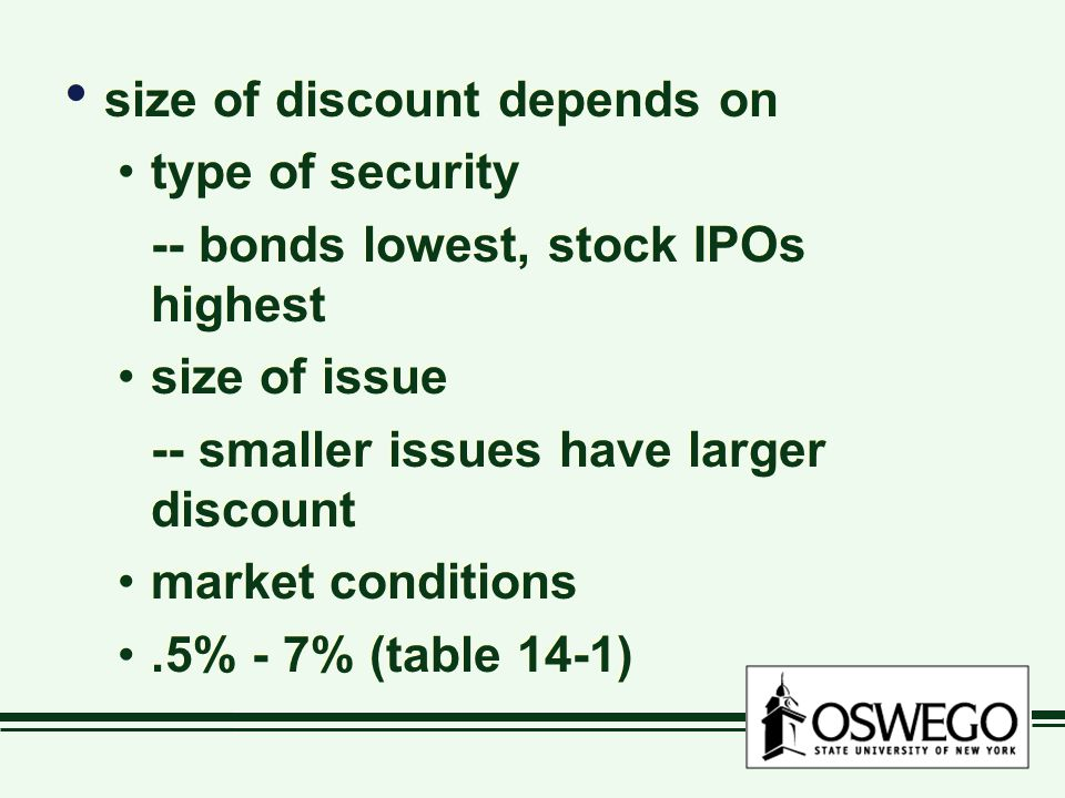 size of discount depends on type of security -- bonds lowest, stock IPOs highest size of issue -- smaller issues have larger discount market condition