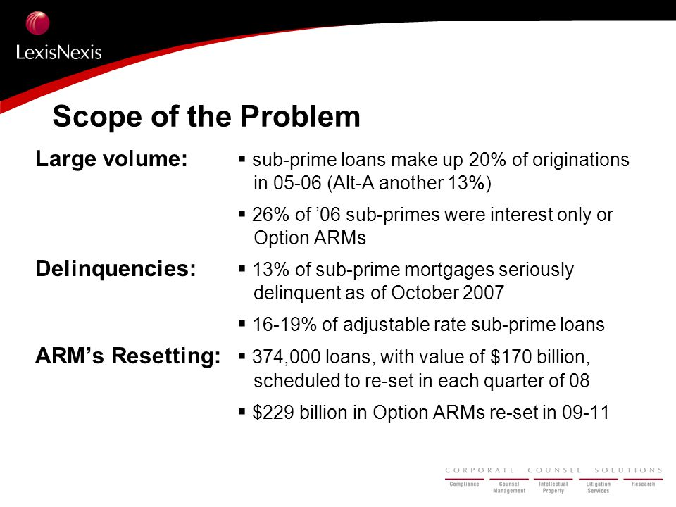 Scope of the Problem Large volume: ▪ sub-prime loans make up 20% of originations in 05-06 (Alt-A another 13%) ▪ 26% of '06 sub-primes were interest on