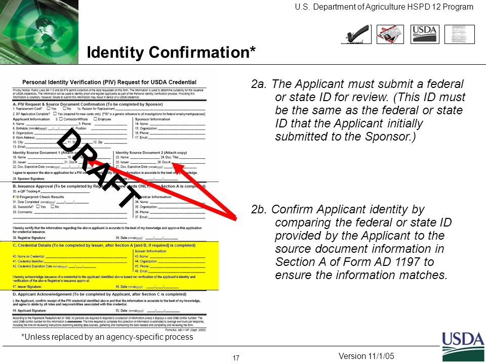 U.S. Department of Agriculture HSPD 12 Program Version 11/1/05 17 Identity Confirmation* 2a.