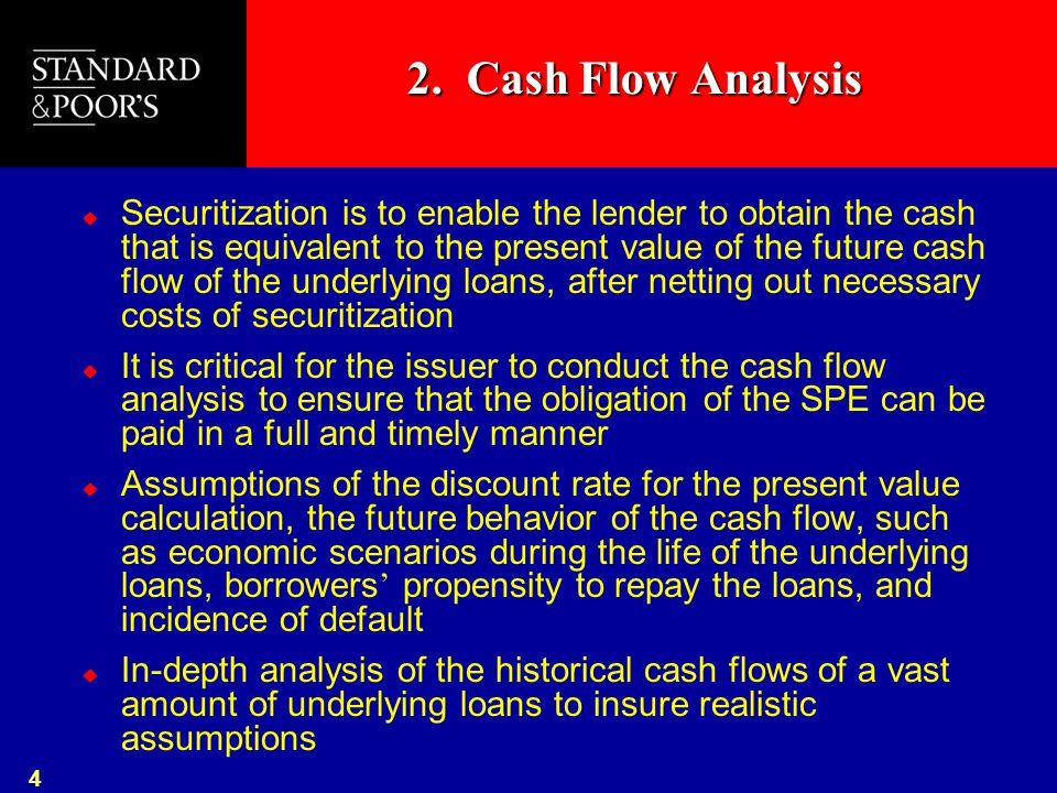 4 2. Cash Flow Analysis  Securitization is to enable the lender to obtain the cash that is equivalent to the present value of the future cash flow of