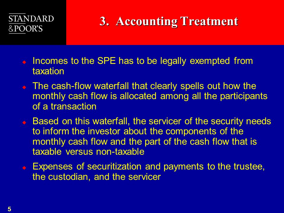 5 3. Accounting Treatment  Incomes to the SPE has to be legally exempted from taxation  The cash-flow waterfall that clearly spells out how the mont