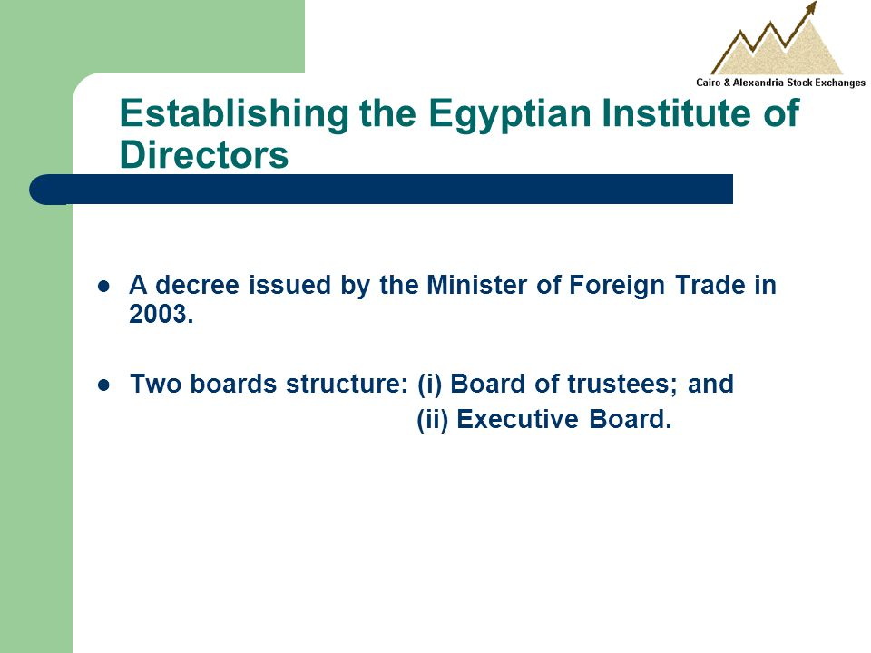 Establishing the Egyptian Institute of Directors A decree issued by the Minister of Foreign Trade in 2003.