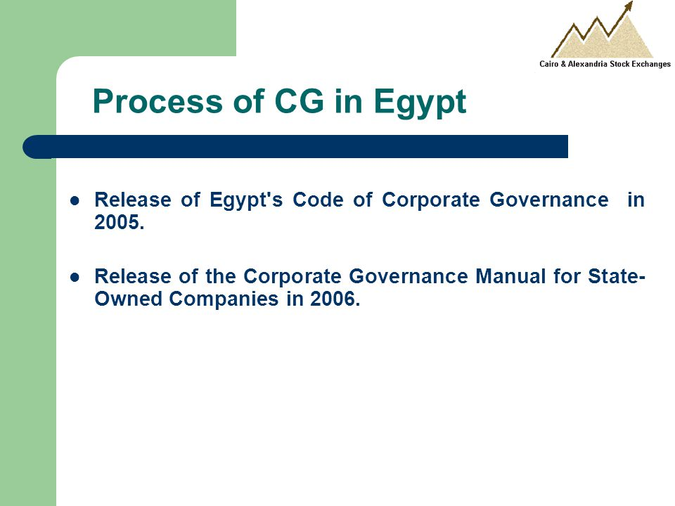 Process of CG in Egypt Release of Egypt s Code of Corporate Governance in 2005.