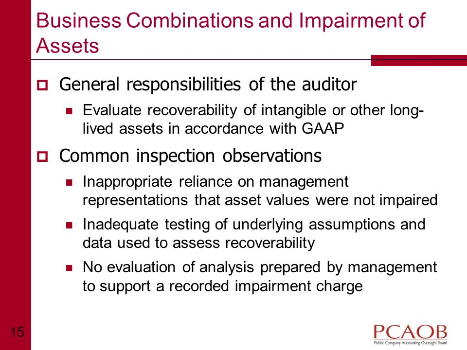 15 Business Combinations and Impairment of Assets  General responsibilities of the auditor Evaluate recoverability of intangible or other long- lived