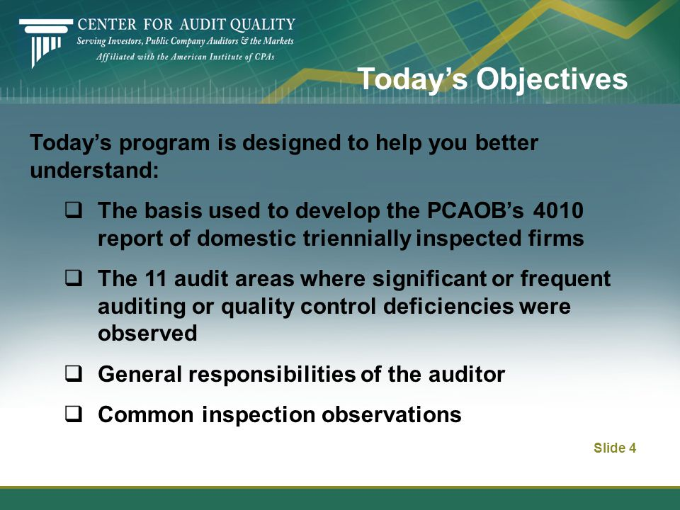 Slide 4 Today's Objectives Today's program is designed to help you better understand:  The basis used to develop the PCAOB's 4010 report of domestic triennially inspected firms  The 11 audit areas where significant or frequent auditing or quality control deficiencies were observed  General responsibilities of the auditor  Common inspection observations