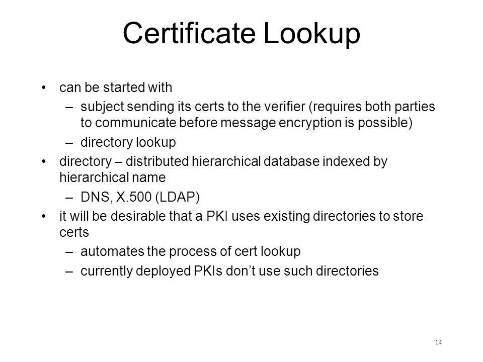 14 Certificate Lookup can be started with –subject sending its certs to the verifier (requires both parties to communicate before message encryption i