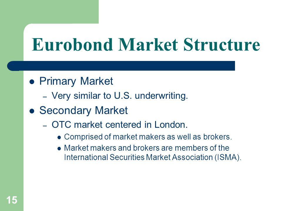 15 Eurobond Market Structure Primary Market – Very similar to U.S.