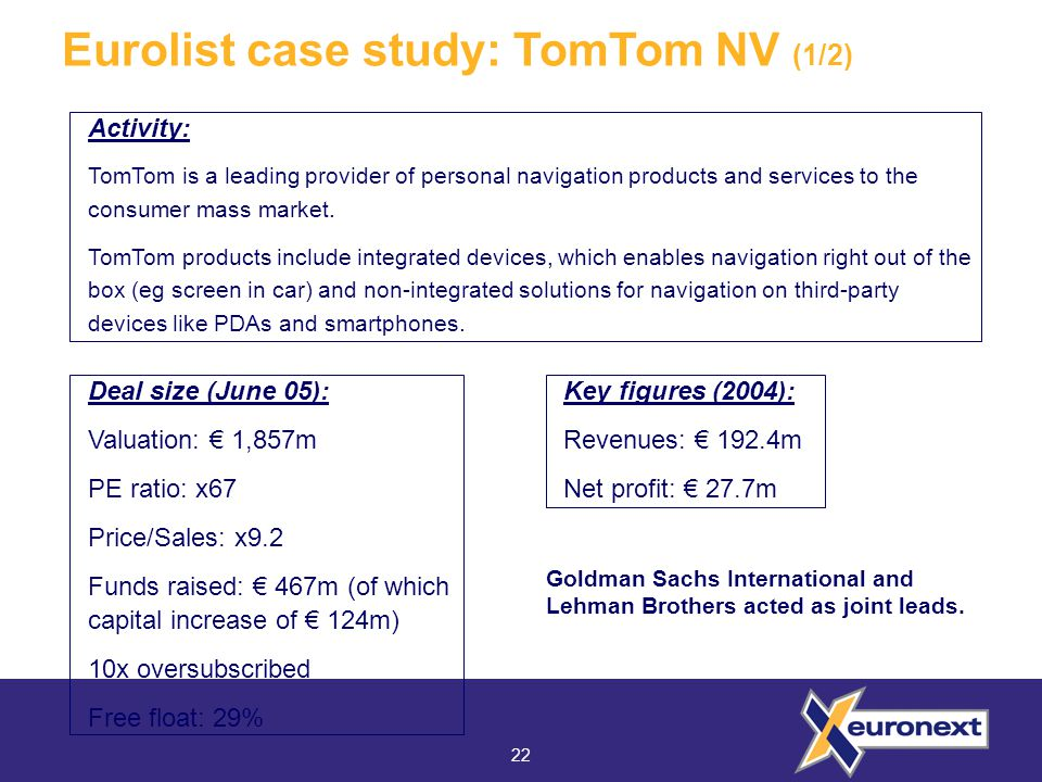 22 Eurolist case study: TomTom NV (1/2) Activity: TomTom is a leading provider of personal navigation products and services to the consumer mass market.