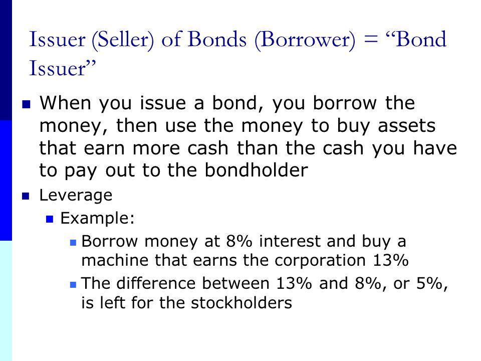"Issuer (Seller) of Bonds (Borrower) = ""Bond Issuer"" Bonds = Debt = Liability = Long-term debt 1 Bond usually means the corporation borrows $1000 (face"
