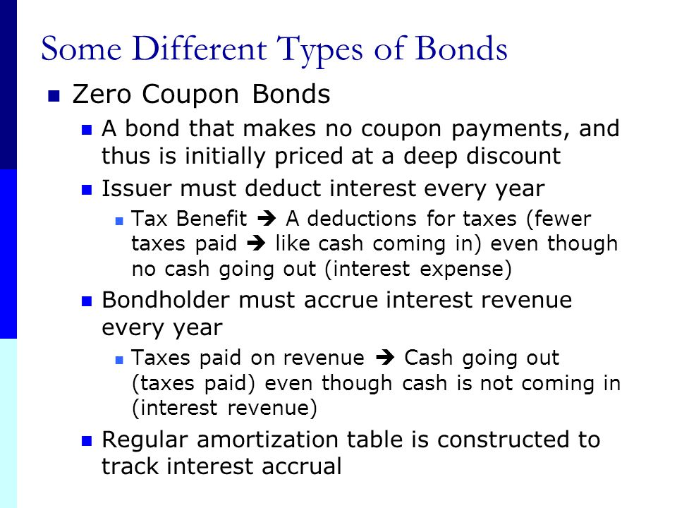 """Some Different Types of Bonds Municipal Bonds """"Munis"""" State and local government debt Example: Bond to build Highway These do have varying degrees of"""