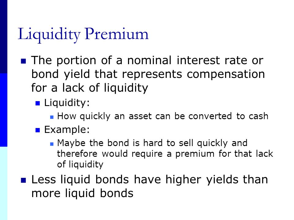 Taxability Premium 1. The portion of a nominal interest rate or bond yield that represents compensation for unfavorable tax status Remember municipal