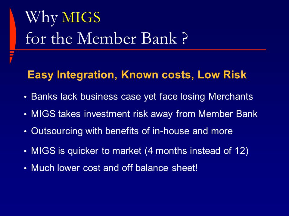 Why MIGS for the Member Bank .
