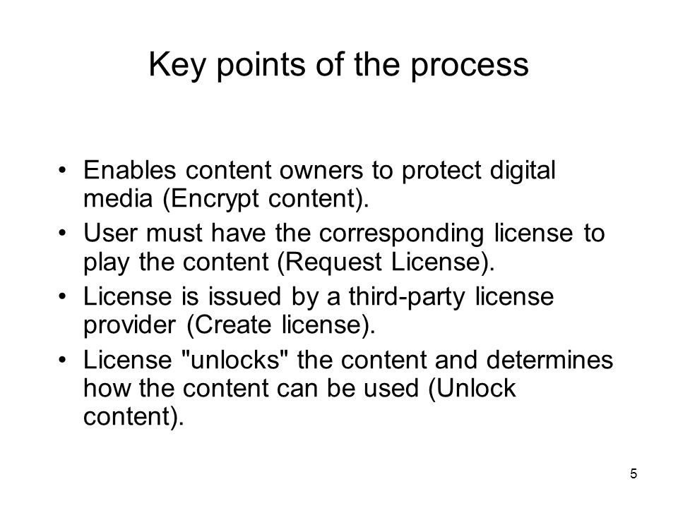 5 Enables content owners to protect digital media (Encrypt content).
