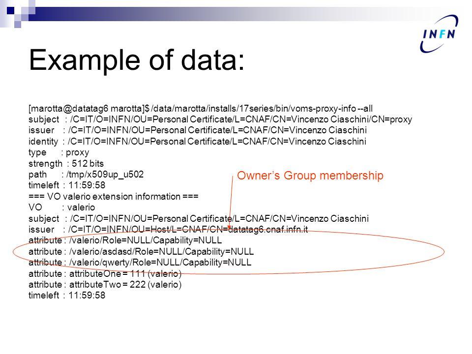 Example of data: [marotta@datatag6 marotta]$ /data/marotta/installs/17series/bin/voms-proxy-info --all subject : /C=IT/O=INFN/OU=Personal Certificate/L=CNAF/CN=Vincenzo Ciaschini/CN=proxy issuer : /C=IT/O=INFN/OU=Personal Certificate/L=CNAF/CN=Vincenzo Ciaschini identity : /C=IT/O=INFN/OU=Personal Certificate/L=CNAF/CN=Vincenzo Ciaschini type : proxy strength : 512 bits path : /tmp/x509up_u502 timeleft : 11:59:58 === VO valerio extension information === VO : valerio subject : /C=IT/O=INFN/OU=Personal Certificate/L=CNAF/CN=Vincenzo Ciaschini issuer : /C=IT/O=INFN/OU=Host/L=CNAF/CN=datatag6.cnaf.infn.it attribute : /valerio/Role=NULL/Capability=NULL attribute : /valerio/asdasd/Role=NULL/Capability=NULL attribute : /valerio/qwerty/Role=NULL/Capability=NULL attribute : attributeOne = 111 (valerio) attribute : attributeTwo = 222 (valerio) timeleft : 11:59:58 Owner's Group membership