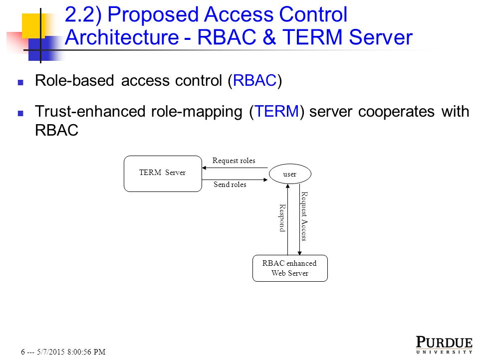 6 --- 5/7/2015 8:01:19 PM 2.2) Proposed Access Control Architecture - RBAC & TERM Server Role-based access control (RBAC) Trust-enhanced role-mapping (TERM) server cooperates with RBAC user TERM Server Send roles RBAC enhanced Web Server Request roles Request Access Respond