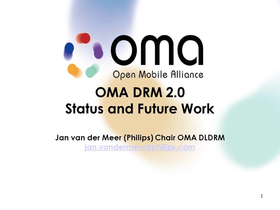 P l a c e h o l d e r T e x t1 OMA DRM 2.0 Status and Future Work Jan van der Meer (Philips) Chair OMA DLDRM jan.vandermeer@philips.com jan.vandermeer@philips.com