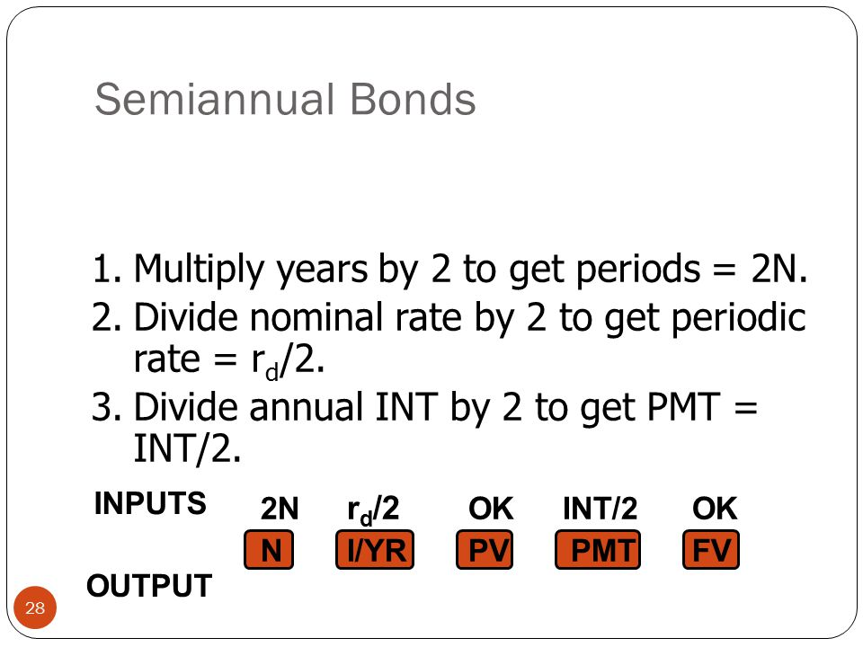 Semiannual Bonds 28 1.Multiply years by 2 to get periods = 2N.