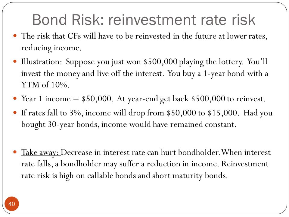 Bond Risk: reinvestment rate risk 40 The risk that CFs will have to be reinvested in the future at lower rates, reducing income.