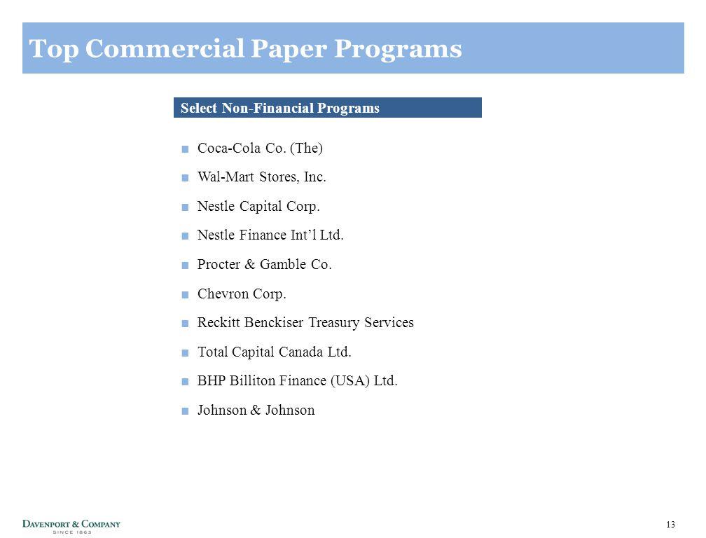 13 Top Commercial Paper Programs Select Non-Financial Programs ■Coca-Cola Co.
