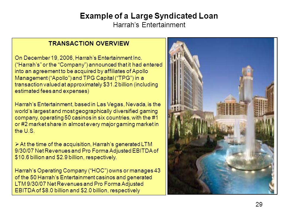 Example of a Large Syndicated Loan Harrah's Entertainment TRANSACTION OVERVIEW On December 19, 2006, Harrah's Entertainment Inc.