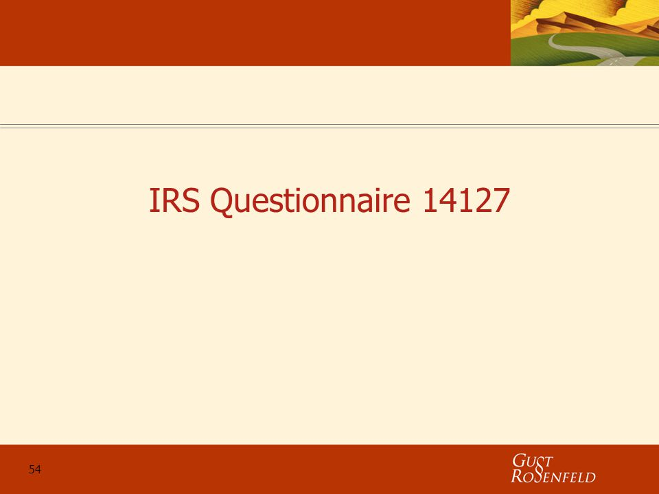 54 IRS Questionnaire 14127