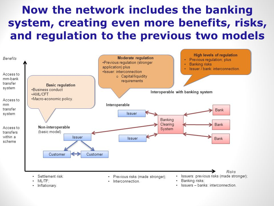 Access to mm transfer system Access to transfers within a scheme Benefits Risks Settlement risk: ML/TF; Inflationary.