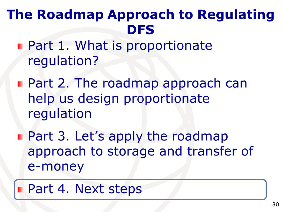30 Part 1. What is proportionate regulation? Part 2. The roadmap approach can help us design proportionate regulation Part 3. Let's apply the roadmap