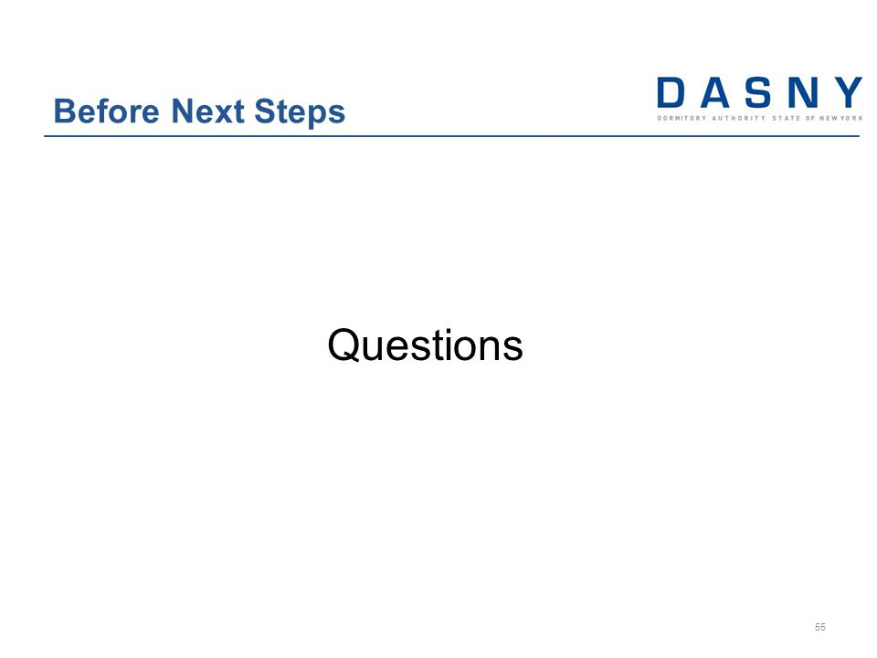 Questions Before Next Steps 55