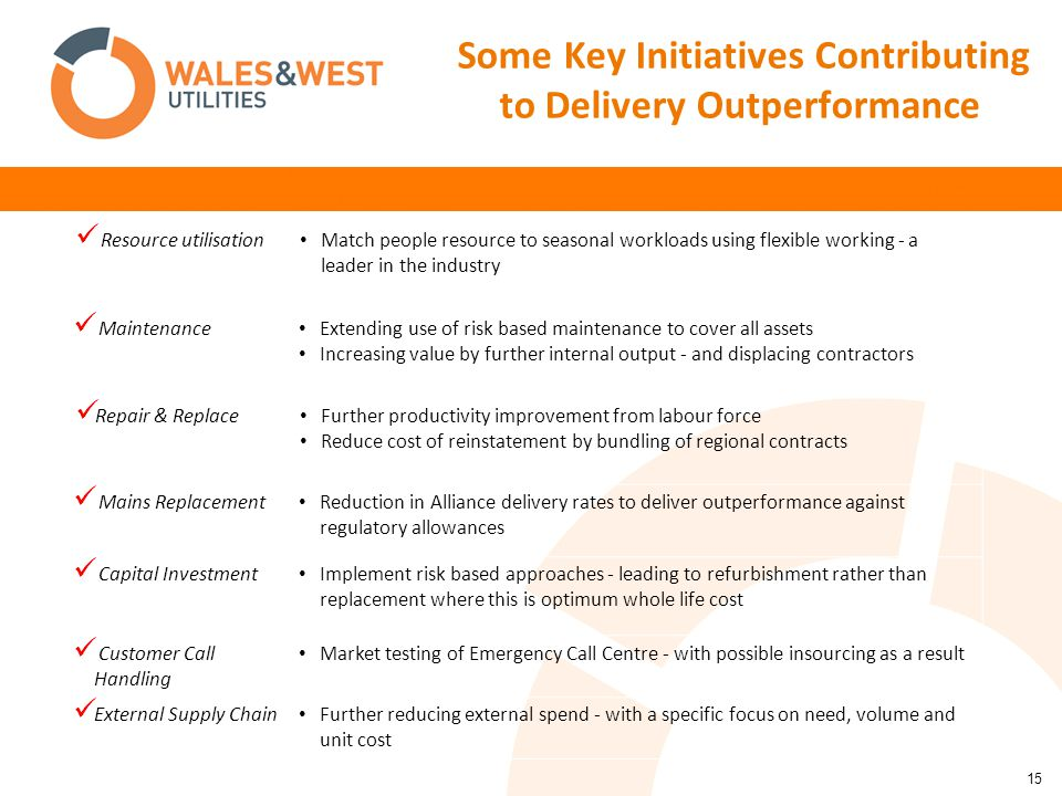 15 Some Key Initiatives Contributing to Delivery Outperformance Resource utilisation Match people resource to seasonal workloads using flexible working - a leader in the industry Maintenance Extending use of risk based maintenance to cover all assets Increasing value by further internal output - and displacing contractors Repair & Replace Further productivity improvement from labour force Reduce cost of reinstatement by bundling of regional contracts Mains Replacement Reduction in Alliance delivery rates to deliver outperformance against regulatory allowances Capital Investment Implement risk based approaches - leading to refurbishment rather than replacement where this is optimum whole life cost Customer Call Handling Market testing of Emergency Call Centre - with possible insourcing as a result External Supply Chain Further reducing external spend - with a specific focus on need, volume and unit cost